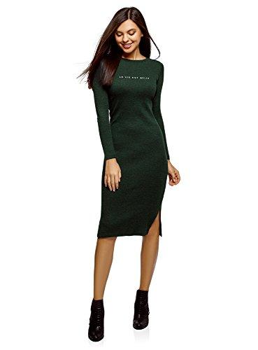 oodji Ultra Femme Robe Mi-Longue Côtelée, Vert, FR 44 / XL