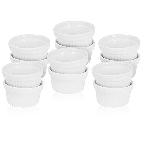 COM-FOUR® 12x bols d'aileron à ragoût en céramique, cocotte et moules à pattes, par exemple pour Creme Brûlée, en blanc, 140 ml (12 pièces)