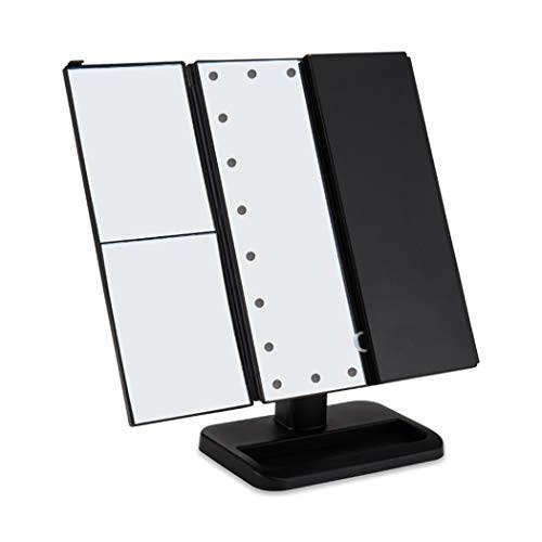 LEDHZJYLW Led Kosmetikspiegel 3 Folding 22 LEDs Tragbarer Led Kosmetikspiegel Leuchtende Kosmetische...