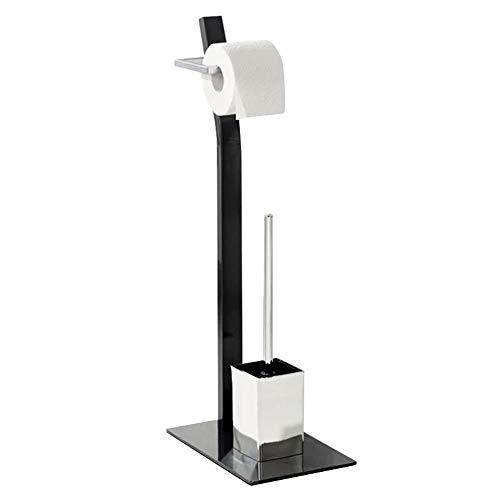 Freistehender Toilettenpapierhalter Beweglicher Badezimmer-Papierhandtuchhalter des Boden-stehenden Edelstahls, lochfreier vertikaler WC-Papierhandtuchhalter mit Toilettenbürstenhalter, 2 in 1 Praktis
