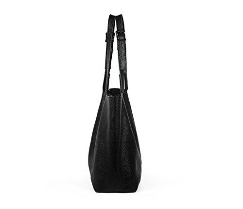 Xinmaoyuan Borse donna bovini Litchi Pattern Borsetta tracolla Casual Ladies Gnocchi Big Bag,Nero Nero