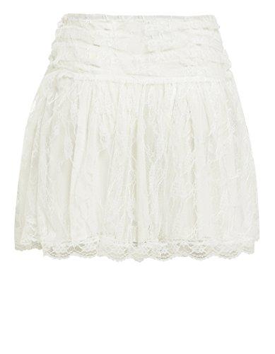 SS7 Neuer Frauen Spitze Minirock, Schwarz, weiß, Pink, Größen 36 bis 42 Weiß