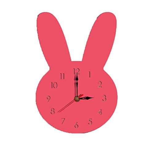 Horloge murale style lapin Webla-nordique horloge en bois silencieuse pour le salon