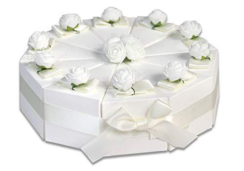 Vetrineinrete® scatoline portaconfetti a forma di torta bianca 3 confezioni con fiori 30 pezzi per matrimonio elegante in cartoncino con nastro bomboniera 304118