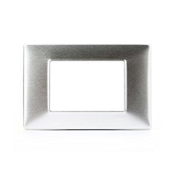 Placca 3 Moduli Alluminio Spazzolato Vimar Plana 14653.81