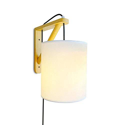 Oevina Modern Plug in Wandleuchte Wandleuchte, E27 Dimmbare Wandleuchte Armaturen mit Glasschirm Holz Wandleuchte für den Innenbereich-Flur für den Innenbereich-Weiße Taste (Plugin-wandleuchte)