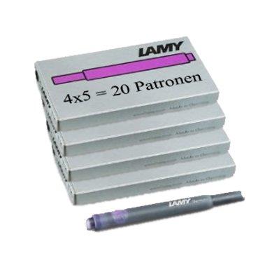 Lamy T10 20 Tintenpatronen 4 Päckchen mit 5 Tintenpatronen, 8 Farben zur Auswahl (insgesamt 20...