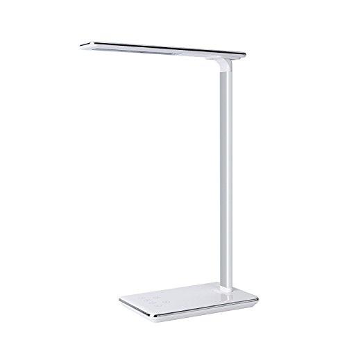 Schreibtischlampe LED 5W, Kimfly LED Tischlampe/Dimmbare Touch Lampe mit USB-Anschluss, 4 Beleuchtungsmodi, 6 Helligkeitsstufe für Arbeiten Lesen Studieren Büro Schlafzimmer Verwendung (Touch-led)