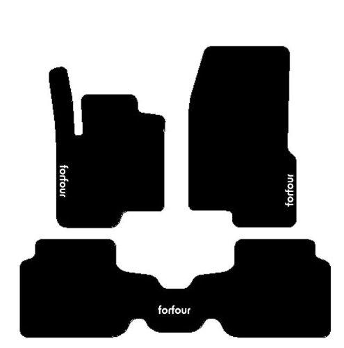 Smart Forfour Alfombras para coche con trasera iPad, juego completo de alfombrillas sobre tamaño de moqueta negro con bordado de hilo Bianco