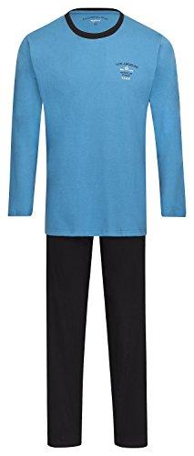 Herren Schlafanzug lang Pyjama 100% Baumwolle Gr. M L XL XXL / 50 52 54 56 Blau