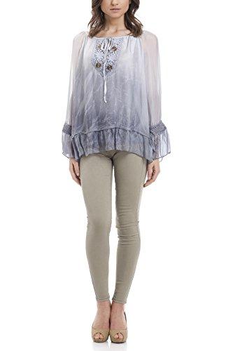 Laura Moretti Tie-Gefärbte Seidenbluse mit Gesticktem und Fliegeausschnitt Grau