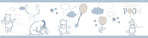 Rasch Textil selbstklebende Papierborte Bordüre - Kollektion Disney Fantasy Deco P35211 Winnie Pooh weiß blau