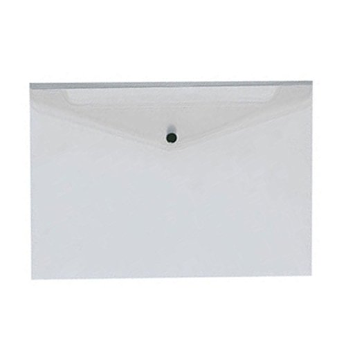 100 BUSTE PORTADOCUMENTI CARTELLINA IN PLASTICA CON CHIUSURA A BOTTONE TRASPARENTE POLIPROPILENE A4 33.3x23.5 cm
