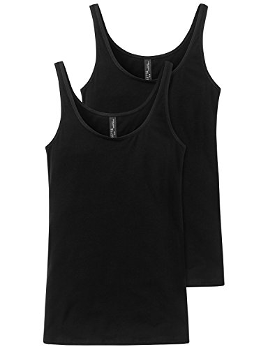 Schiesser Damen Unterhemd Trägertop, 2er Pack, Gr. 36, Schwarz (schwarz 000)