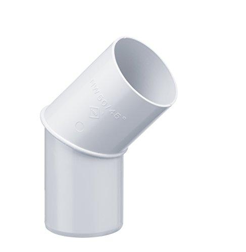INEFA Rohrbogen DN 50, 45°, Weiß Kunststoff, Regenrinne, Dachrinne
