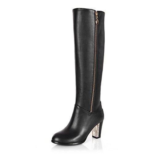 KAFEI Das Mädchen mit 7 cm dicken Stiefel runden Kopf Freizeitaktivitäten Reißverschluss warm, schwarz, 39 -