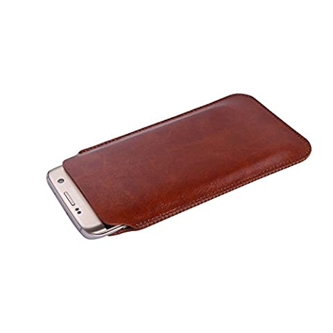 UltraJacket Light & Slim Durable Vegan-Friendly PU Leather Sleeve Case with SuperSoft Microfiber Lining to Prevent Scratching & Damage for Samsung Galaxy S7 Edge (Saddle Brown)