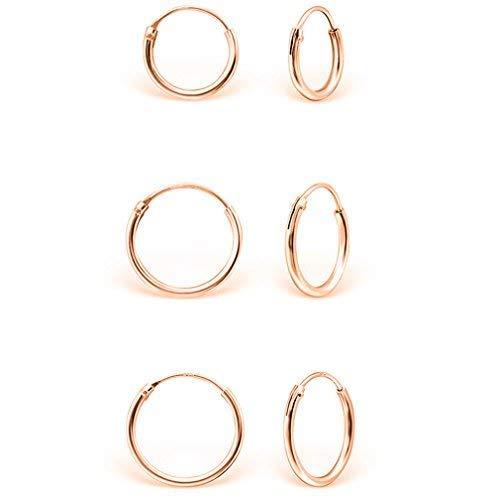 DTPsilver - Damen - Klein Creolen - Ohrringe 925 Sterling Silber und Rosen Vergoldet Set Paare 3 - Dicke 1.2 mm - Durchmesser 8 , 10 , 12 mm
