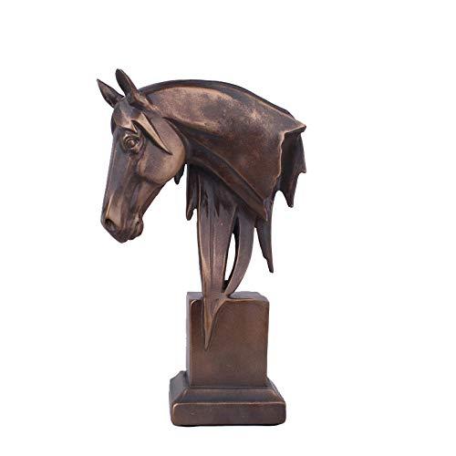 DSZXHN Skulptur Deko,Kreative Vintage Pferdekopf Tierischen Skulptur Gestaltete Figuren, Home Desktop Regal Handwerk Kunst Dekor Statuetten Für Innen Wohnzimmer Oder Büro -