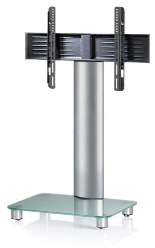 """VCM TV-Standfuß LED Halterung Ständer Fernseh Standfuss Alu Glas Universal Silber VESA Mobil Rollen """"Tosal"""""""