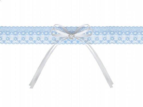 Strumpfband Hochzeit weiße Schleife mit Blume weiß