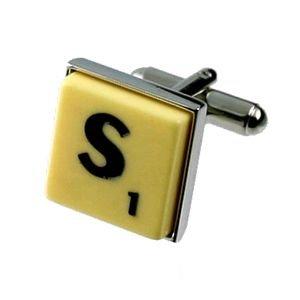 English Gems boutons de manchette Lettre S x2 avec étui Noir