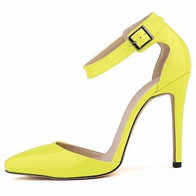Moda Donna Sandali Sexy donna tacchi Comfort estivo brevetto Casual in pelle Stiletto Heel BuckleBlack / blu / giallo / verde / verde Blue