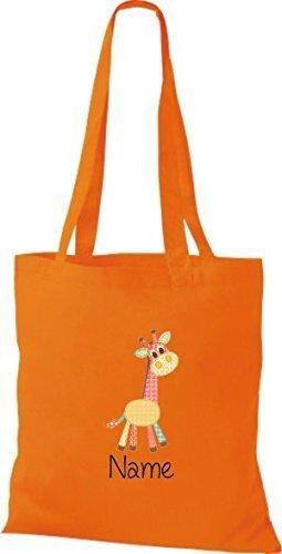 Stoffbeutel mit süßen Motiven inkl. Ihrem Wunschnamen Giraffe Orange