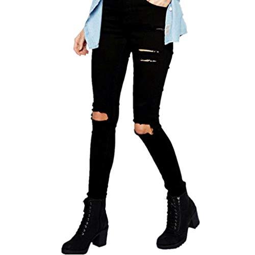 Relaxed Fit, Lange Länge Jeans (Vectry Jeans Damen Slim Fit Skinny Fit Jeans Jogger Push Up Ankle Straight Leg Mit LöChern Stretch Denim Relaxed Hose Aufnäher Hosen, Loch Baumwolle Leggings Bleistifthosen Jeanshosen(Schwarz,S))