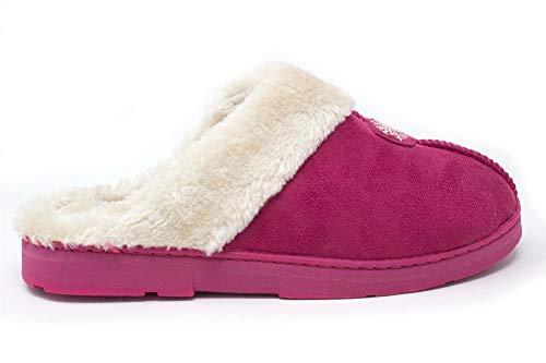 Fenside Country Clothing Damen Hausschuhe mit Kunstfell gefüttert, warm und bequem, Pink - Rose - Größe: 38 EU
