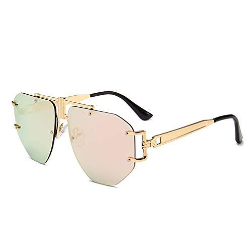 ZUZEN Mode Sonnenbrillen Moderne Retro-Stil Aviator Sonnenbrille UV-Schutz UV400 Promi-Sonnenbrille Trend für Männer und Frauen,Clear&Pink