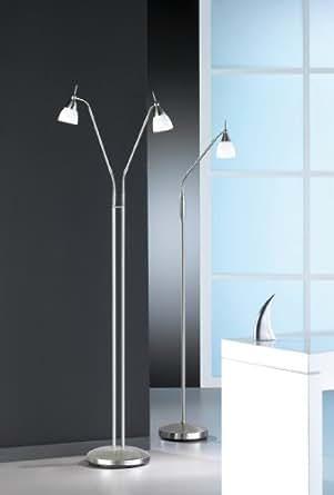 Lampadaire Pino 2 ampoules en acier et verre