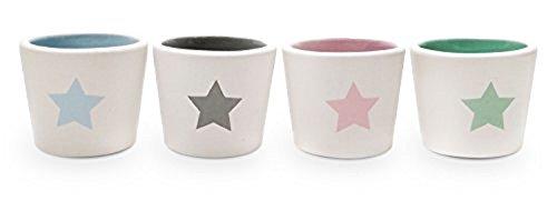 Yoko Design 1403Stella Set Di 4portauovo in ceramica bianco 22x 5,8x 4,2cm