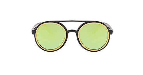 Sonnenbrille 3-7 Jahre Kinder Sonnenbrille Vintage Runde Gläser Süße Jungs & Mädchen Reflektierende Linse Kind Eyewear Schwarzes Gold