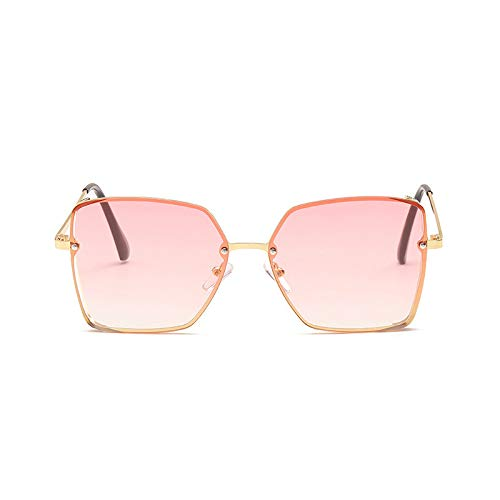 New Large Metal Box Sunglasses Female European and American Hipsters Vintage Street Shoot Dazzling Color Sunglasses C5 Gold Frame Gradient Powder -