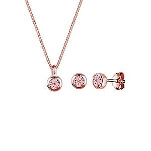 Elli Damen Schmuckset Halskette und Ohrringe Basic mit Swarovski Kristallen in 925 Sterling Silber 45 cm lang