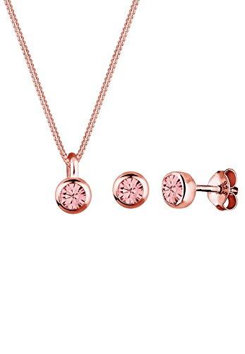 Elli Damen Schmuck Schmuckset Halskette + Ohrringe Klassisch Basic Silber 925 Rosé Vergoldet Swarovski® Kristalle Rosa Länge 45 cm