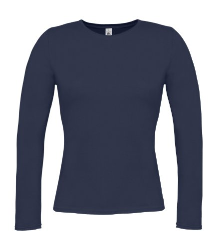 B & C Collection Damen T-Shirt, langärmelig Blau - Marineblau