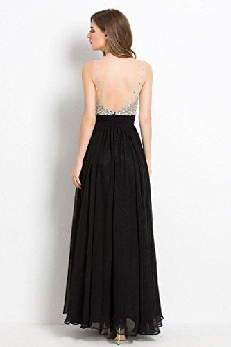 Beauty-Emily col en V avec bandes de robes de soirée longue Or - Doré