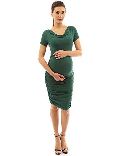 PattyBoutik Mama femmes robe de maternité avec cou souple et manches courtes vert foncé