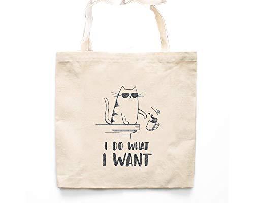 Braun Market Tote (Cat Market Tote Bag Lustige Katze bestickt Markttaschen, Katzenliebhaber, Lebensmittel, Katze, Buch Tasche)