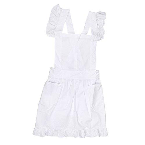 Spitze Küchenschürze Schürze Kostüm Pinafore Taschen - Weiß (Viktorianischen Stil Kostüme)