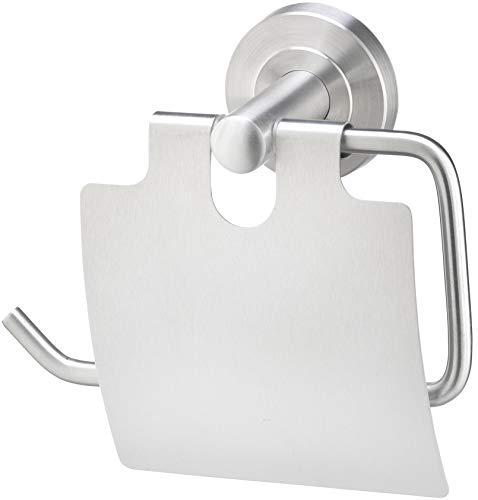 Golden Lutz® WC-Papierrollenhalter mit Abdeckung aus rostfreiem Edelstahl, gebürstet - Kleben oder Schrauben -