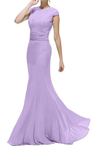 Ivydressing Damen Meerjungfrau Lang Abendkleider Rundkragen Brautmutterkleid Promkleid Ballkleider Lila