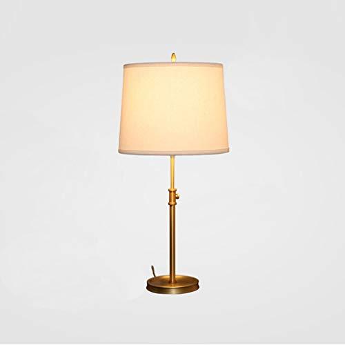 Lámpara de mesa de noche - Lámpara de cobre de altura ajustable ...