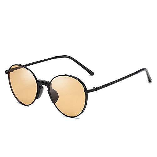 Metall runden Rahmen Männer und Frauen Trend Street Beat Sonnenbrille Retro Sonnenbrille Brille (Color : 02Tea, Size : Kostenlos)