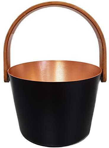 Preisvergleich Produktbild SudoreWell® Saunaeimer schwarz-gold aus Aluminium mit Bügelgriff + gratis Eiskristalle