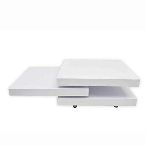 vidaXL Table Basse Blanc Laqué Carrée Pivotante 3 Plateaux Tables d'Appoint