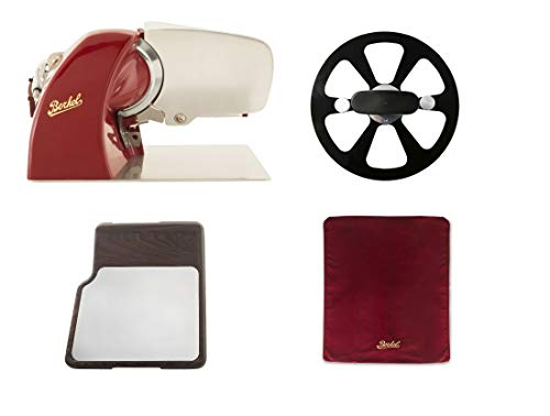 Berkel - Home Line 250 Rot + Slicer cover Rot Größe M + Messer-Abnehmer + Schneidebrett Edelstahl
