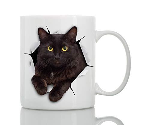 Taza de Gato Negro - Taza Gato Negro de Cerámica para Cafe - Regalo Perfecto sobre Gato Negro - Divertida y Bonita Taza de Café para Amantes de los Gatos